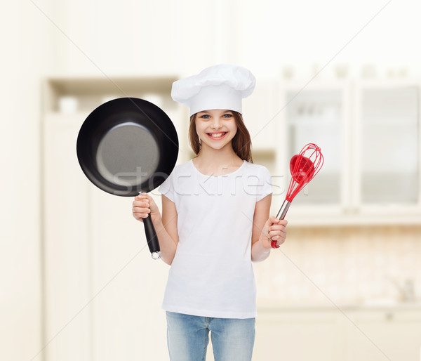 smiling little girl in white blank t-shirt Stock photo © dolgachov