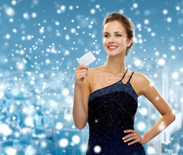 笑顔の女性 イブニングドレス クレジットカード ショッピング ストックフォト © dolgachov