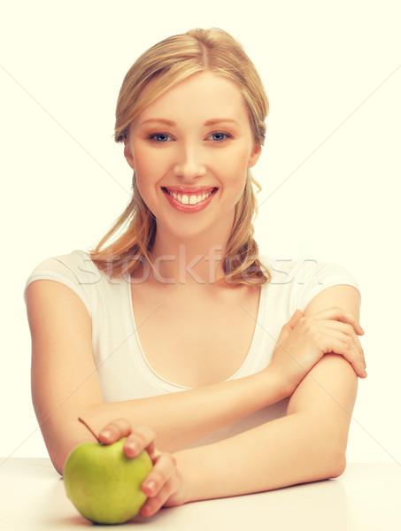 Mujer verde manzana Foto mujer hermosa feliz Foto stock © dolgachov
