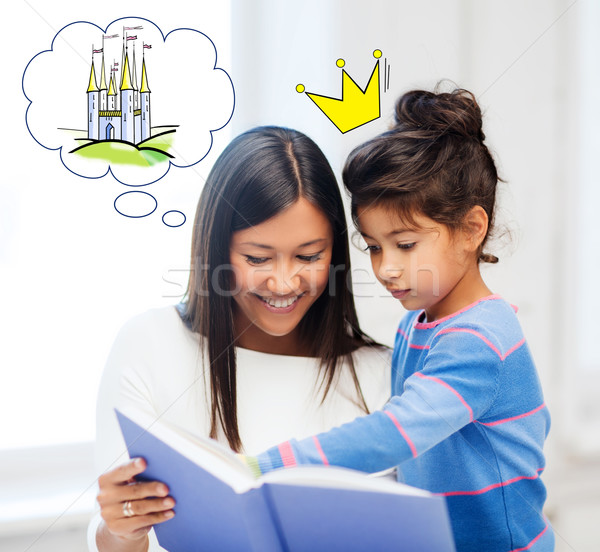 happy mother and daughter reading fairytale book Stock photo © dolgachov
