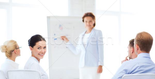üzletasszony üzleti megbeszélés iroda kép mosolyog üzlet Stock fotó © dolgachov