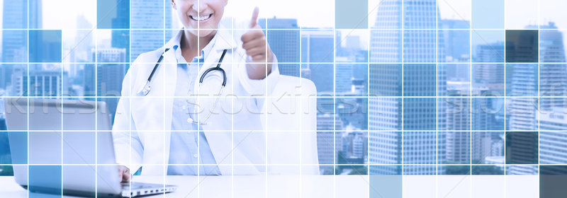 Stok fotoğraf: Afrika · kadın · doktor · dizüstü · bilgisayar · sağlık
