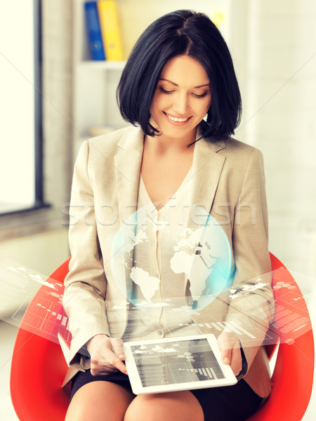 woman with tablet pc and virtual screen Stock photo © dolgachov