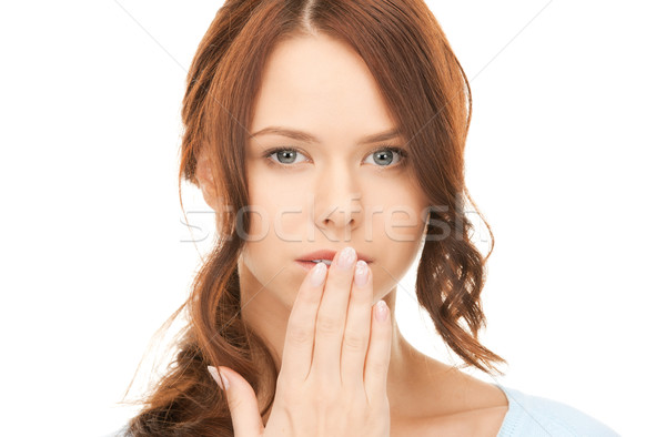 hand over mouth Stock photo © dolgachov
