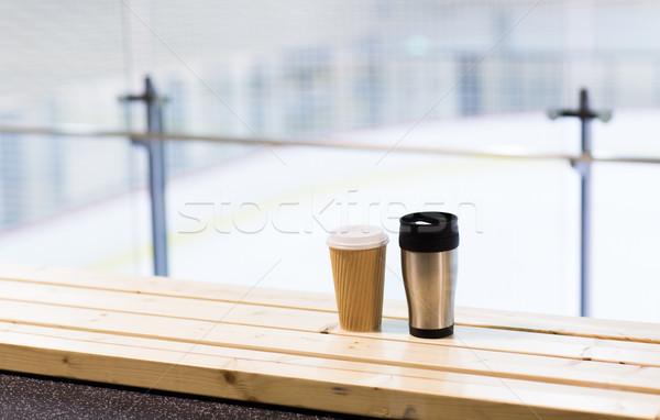 Kávé csésze pad jég pálya aréna Stock fotó © dolgachov