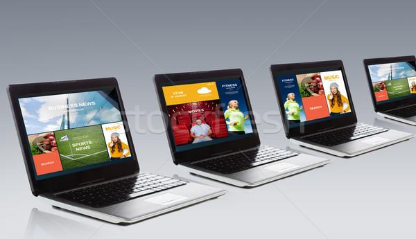 Laptop With Internet Applications On Screen Stock Photo C Syda Productions Dolgachov 7003119 Stockfresh