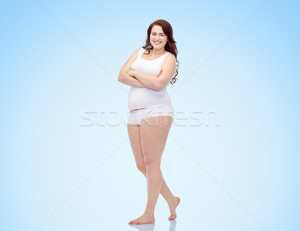 happy plus size woman in underwear Stock photo © dolgachov