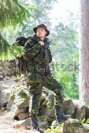 Soldado cazador arma dormir forestales caza Foto stock © dolgachov