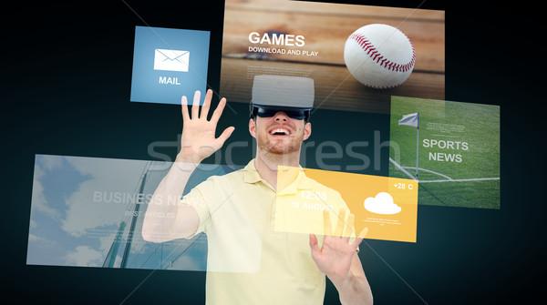 Mutlu adam sanal gerçeklik kulaklık 3d gözlük Stok fotoğraf © dolgachov