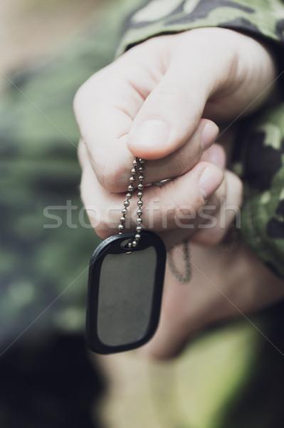 Jovem soldado guerra exército Foto stock © dolgachov