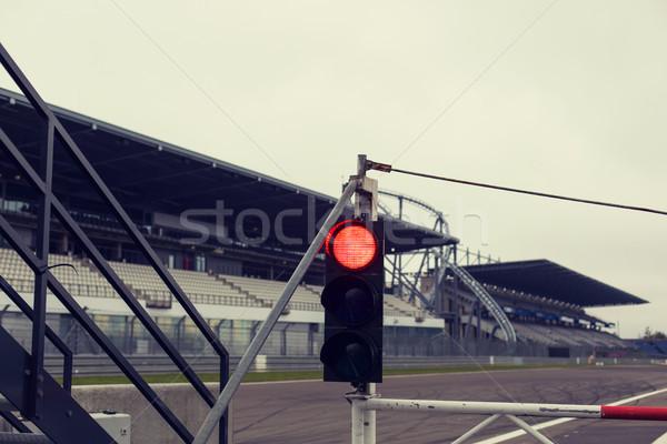 Kırmızı trafik ışıkları yol işareti yarış pisti aşırı yarış Stok fotoğraf © dolgachov