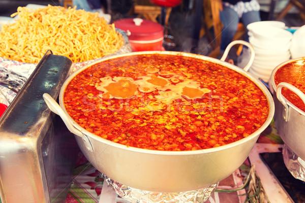 ポット 辛い スープ 通り 市場 料理 ストックフォト © dolgachov