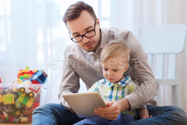 Syn ojca gry domu rodziny dzieciństwo Zdjęcia stock © dolgachov