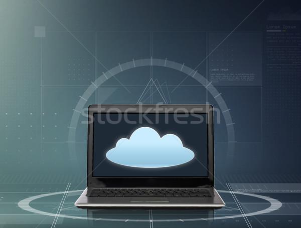 Laptop chmura icon ekranu technologii computing telekomunikacja Zdjęcia stock © dolgachov
