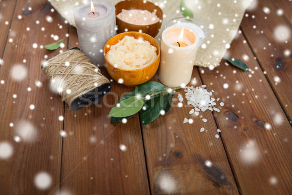 natural body scrub and candles on wood Stock photo © dolgachov