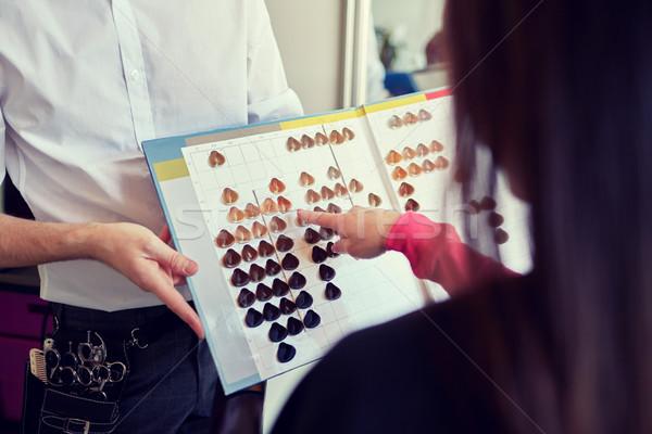 Kadın saç rengi paletine salon güzellik Stok fotoğraf © dolgachov