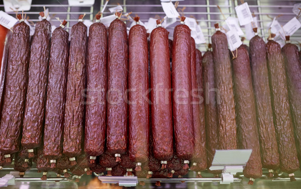 salami sausage at grocery store stall Stock photo © dolgachov