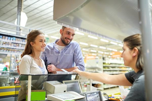 情侶 購買 食品 收款台 購物 商業照片 © dolgachov