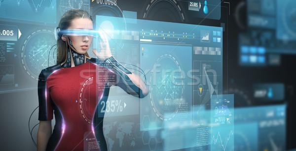 Stockfoto: Vrouw · virtueel · realiteit · bril · microchip · technologie