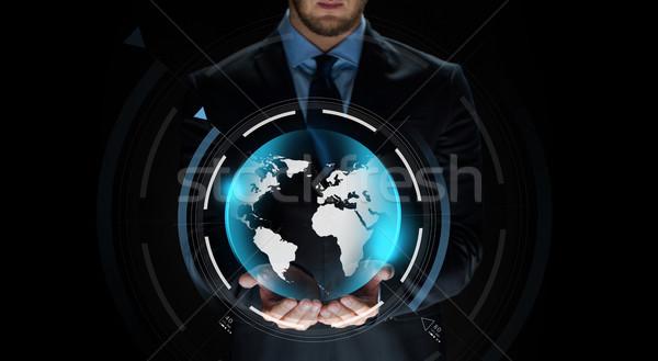 Empresario tierra proyección negocios virtual Foto stock © dolgachov
