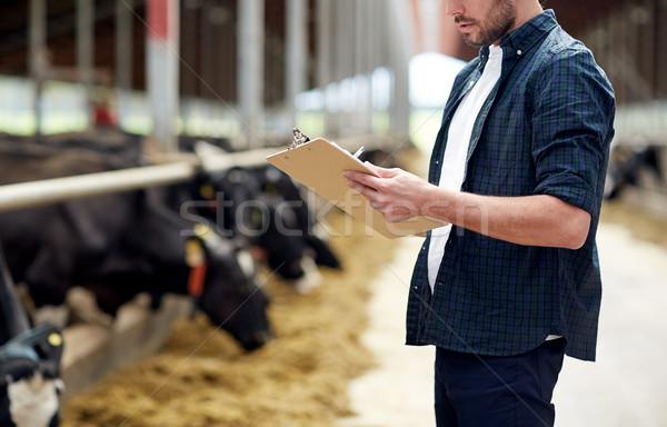 Stok fotoğraf: çiftçi · inekler · çiftlik · tarım · sanayi