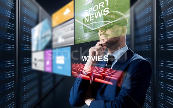 Człowiek faktyczny rzeczywistość zestawu multimedialnych ludzi biznesu Zdjęcia stock © dolgachov
