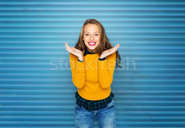 幸せ 若い女性 十代の少女 カジュアル 服 人 ストックフォト © dolgachov