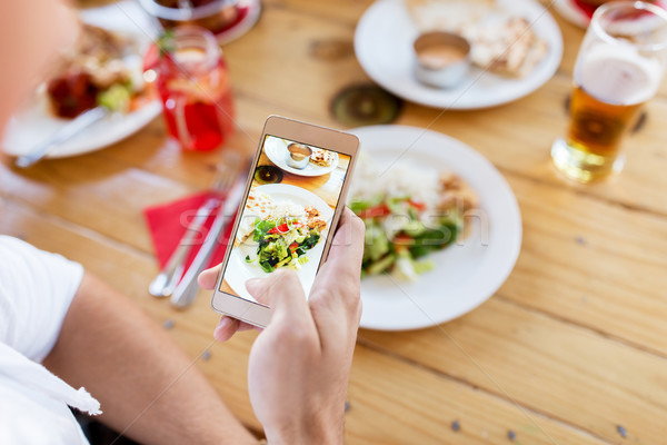 hand with smartphone picturing food at restaurant Stock photo © dolgachov