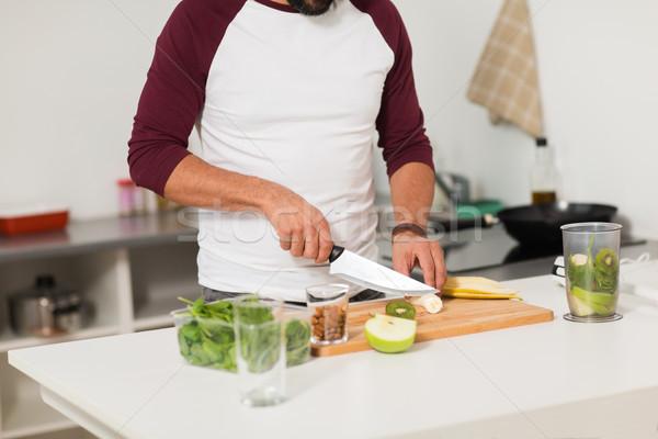 男 ブレンダー フルーツ 料理 ホーム キッチン ストックフォト © dolgachov