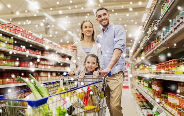 家族 食品 ショッピングカート 販売 ストックフォト © dolgachov