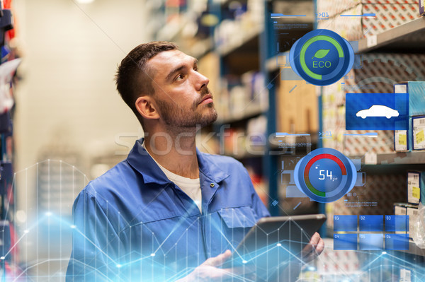 Stock photo: auto mechanic or smith with tablet pc at workshop