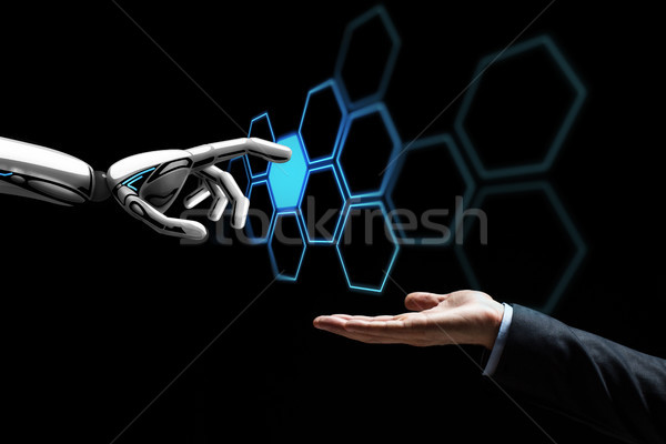Mão humana robô tocante rede holograma futuro Foto stock © dolgachov