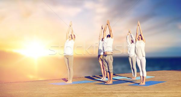 Groupe de gens yoga extérieur posent bois Photo stock © dolgachov