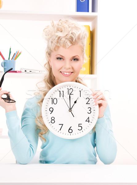 Stok fotoğraf: Kadın · büyük · saat · parlak · resim