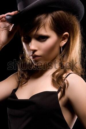 Kadın siyah karanlık resim seksi kadın siyah elbise Stok fotoğraf © dolgachov