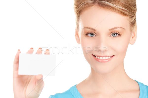 ストックフォト: 幸せな女の子 · 名刺 · 白 · ビジネス · 女性 · 紙