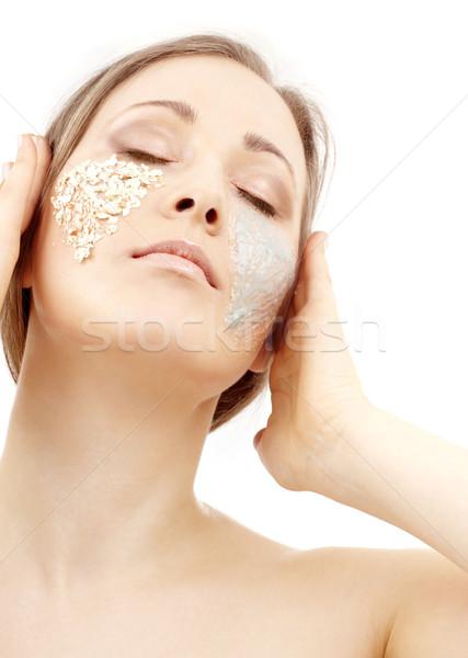 Gél bozót gyönyörű nő arc szemek pihen Stock fotó © dolgachov