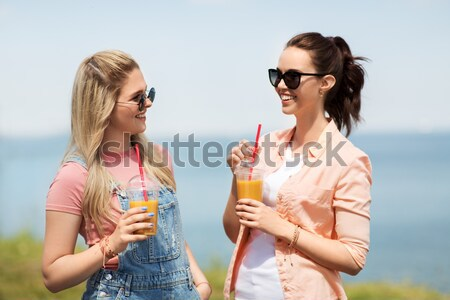 Stock photo: happy couple with ice cream