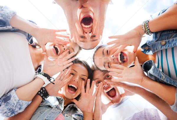 Grupo adolescentes olhando para baixo gritando verão férias Foto stock © dolgachov