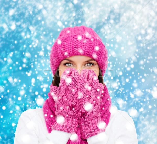 Meglepődött nő kalap sál ujjatlan kesztyűk karácsony Stock fotó © dolgachov