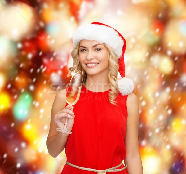 Mulher vestido vermelho vidro champanhe festa bebidas Foto stock © dolgachov