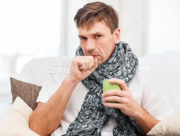 Malade homme grippe maison santé médecine Photo stock © dolgachov