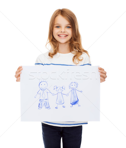 smiling little child holding picture of family Stock photo © dolgachov