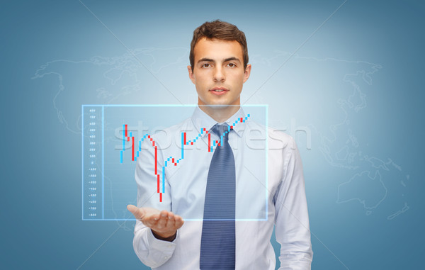 man showing forex chart on the palm of his hand Stock photo © dolgachov