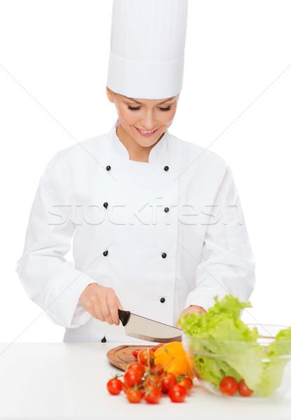 Mosolyog női szakács tapsolás főzés étel Stock fotó © dolgachov