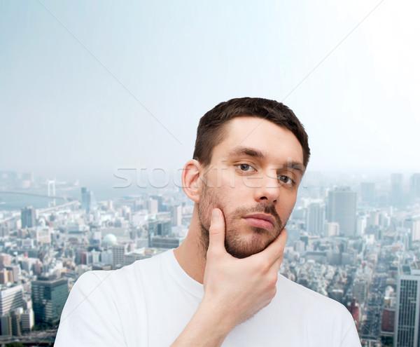 Mooie man aanraken gezicht gezondheid Stockfoto © dolgachov