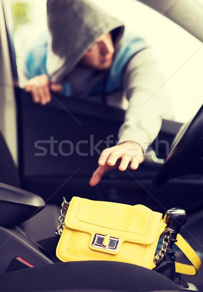 Dief zak auto vervoer criminaliteit Stockfoto © dolgachov