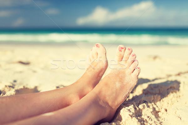Zdjęcia stock: Kobieta · nogi · morza · brzegu · lata