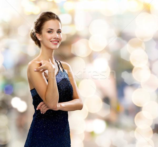 улыбающаяся женщина вечернее платье люди праздников гламур фары Сток-фото © dolgachov