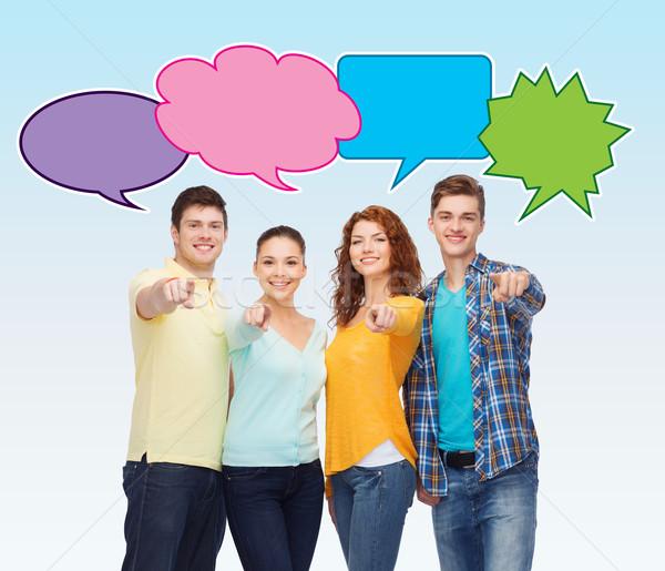 Stockfoto: Groep · glimlachend · tieners · tekst · bubbels · vriendschap